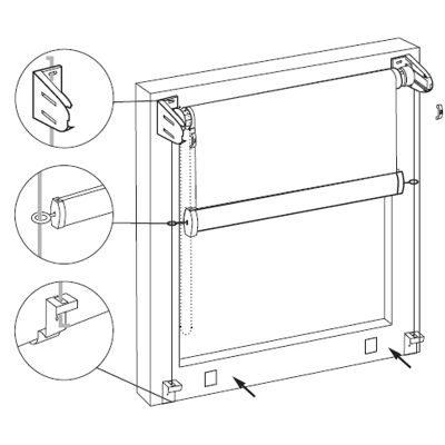 Схема установки струн удерживающих полотно вдоль стекла.